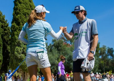 Azahara Munoz of Spain and her caddie-g