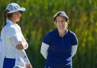 Beth Allen of the USA chats to her caddie-g